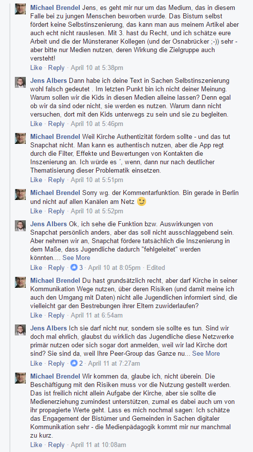 Screenshot Facebookdiskussion